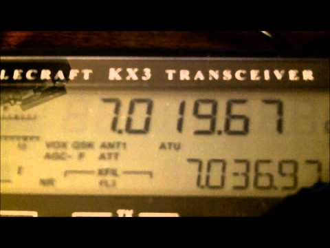 LX7I and UR7GO Elecraft KX3 5 watts into the 40M Cage