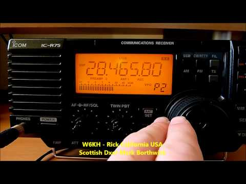 Ham Radio 10m DX W6YI and YN2AA Received in Scotland with Icom IC-R75 and Super KAZ Array Antenna
