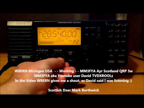 Ham Radio W8ERN working MM3FYA Received In Scotland with Icom IC-R75 and Super KAZ Array