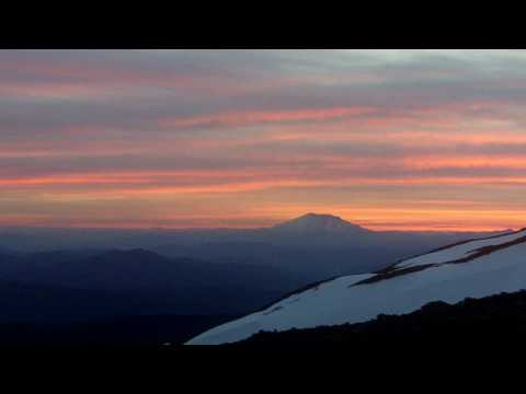 Base Camp view from Mt. Adams watching the sun set
