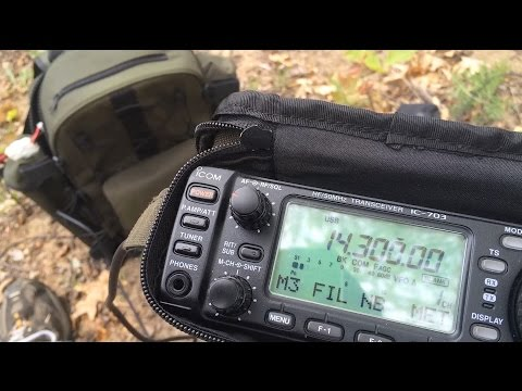 Icom IC 703+ Plus QRP Field Radio Portable using Icom AH-703 portable whip antenna
