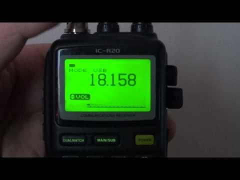 Tuning around 17 meter amateur radio band on Icom IC R20 receiver USB
