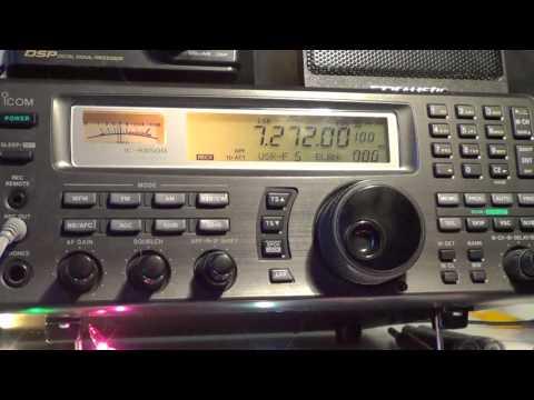 Tuning around 40 meters at 2210 UTC on Icom IC R8500