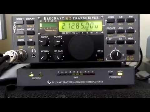 Elecraft K2 and KAT-100 Antenna Tuner - Demonstration - IW2NOY