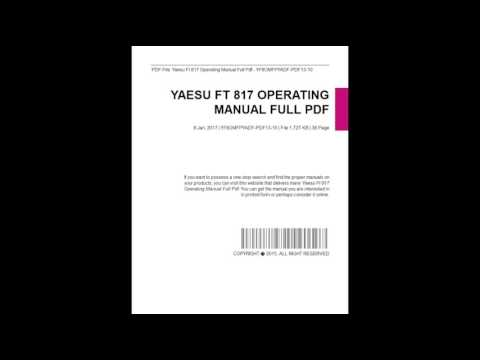 Yaesu Ft 817 Operating Manual Full
