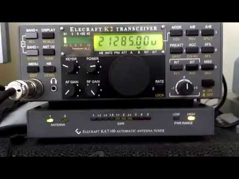 Elecraft K2 and KAT-100 Antenna Tuner - Demonstration - IW2NOY
